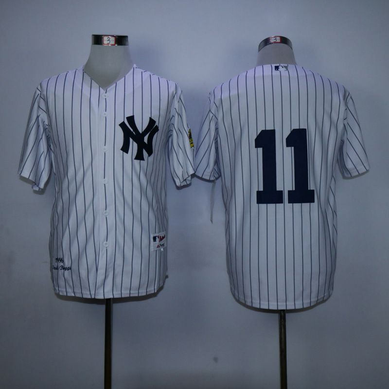 Men New York Yankees 11 No name White Throwback MLB Jerseys